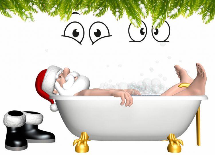 Weihnachtsmann in der Wanne