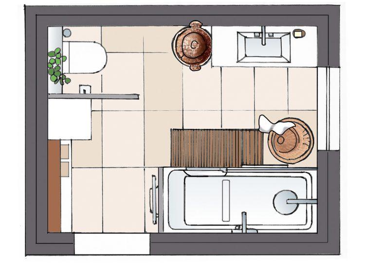 Singlebad mit Waschmaschine